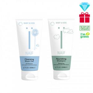 Naïf Baby & Kids Care maitinamasis šampūnas kūdikiams, tinkantis visų tipų plaukams 200ml+Naïf Baby & Kids Care valomasis prausimosi gelis kūdikiams, skirtas visiems odos tipams 200ml
