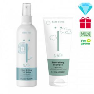 """Naïf Baby & Kids Care maitinamasis šampūnas kūdikiams, tinkantis visų tipų plaukams 200ml+Naïf Baby & Kids"""" Easy Styling plaukus minkštinantis losjonas 150ml"""