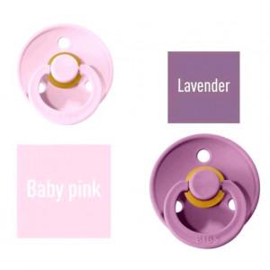 Bibs Baby Pink/Lavender Čiulptukas (nipelis) iš 100% natūralaus kaučiuko - vyšnios forma 0–6 mėn. (2 vnt.)
