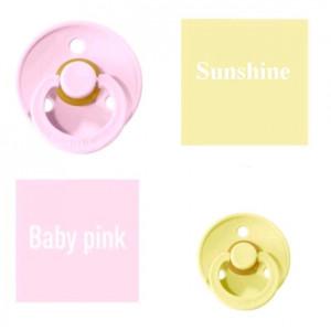 Bibs Baby Baby Pink/Sunshine Čiulptukas (nipelis) iš 100% natūralaus kaučiuko - vyšnios forma 0–6 mėn. (2 vnt.)