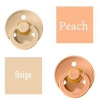 Bibs Beige/Peach Čiulptukas (nipelis) iš 100% natūralaus kaučiuko - vyšnios forma 0–6 mėn. (2 vnt.)