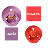 Bibs Strawberry/Lavender Čiulptukas (nipelis) iš 100% natūralaus kaučiuko - vyšnios forma 0–6 mėn. (2 vnt.)