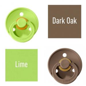 Bibs Lime/Dark Oak Čiulptukas (nipelis) iš 100% natūralaus kaučiuko - vyšnios forma 0–6 mėn. (2 vnt.)
