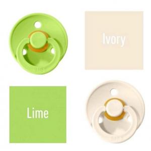Bibs Lime/Ivory Čiulptukas (nipelis) iš 100% natūralaus kaučiuko - vyšnios forma 0–6 mėn. (2 vnt.)