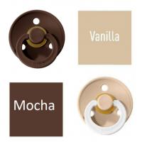 Bibs Vanilla/Mocha Čiulptukas (nipelis) iš 100% natūralaus kaučiuko - vyšnios forma 6–18 mėn. (2 vnt.)