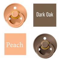 Bibs Dark Oak/Peach Čiulptukas (nipelis) iš 100% natūralaus kaučiuko - vyšnios forma 0–6 mėn. (2 vnt.)