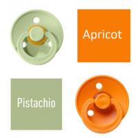 Bibs Pistachio/Apricot Čiulptukas (nipelis) iš 100% natūralaus kaučiuko - vyšnios forma 6–18 mėn. (2 vnt.)