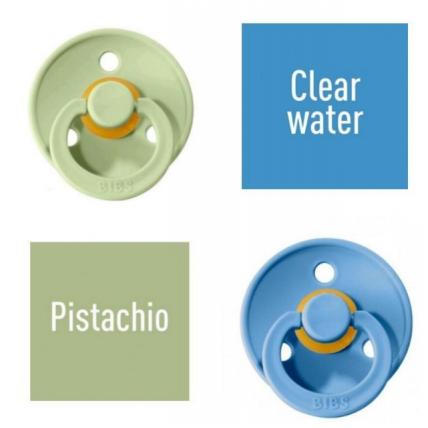 Bibs Pistachio/Clear water Čiulptukas (nipelis) iš 100% natūralaus kaučiuko - vyšnios forma 6–18 mėn. (2 vnt.)