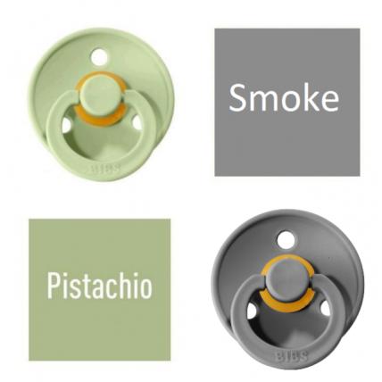 Bibs Pistachio/Smoke Čiulptukas (nipelis) iš 100% natūralaus kaučiuko - vyšnios forma 6–18 mėn. (2 vnt.)