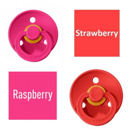 Bibs Raspberry/Strawberry Čiulptukas (nipelis) iš 100% natūralaus kaučiuko - vyšnios forma 0–6 mėn. (2 vnt.)