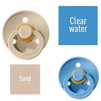 Bibs Sand/Clear water Čiulptukas (nipelis) iš 100% natūralaus kaučiuko - vyšnios forma 6–18 mėn. (2 vnt.)