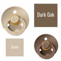 Bibs Dark Oak/Sand Čiulptukas (nipelis) iš 100% natūralaus kaučiuko - vyšnios forma 0–6 mėn. (2 vnt.)