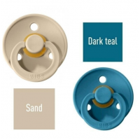 Bibs Sand/Dark teal Čiulptukas (nipelis) iš 100% natūralaus kaučiuko - vyšnios forma 6–18 mėn. (2 vnt.)