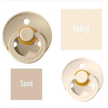 Bibs Ivory/Sand Čiulptukas (nipelis) iš 100% natūralaus kaučiuko - vyšnios forma 0–6 mėn. (2 vnt.)