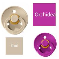 Bibs Sand/Orchidea Čiulptukas (nipelis) iš 100% natūralaus kaučiuko - vyšnios forma 6–18 mėn. (2 vnt.)