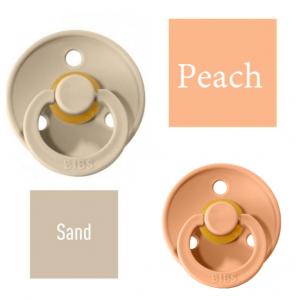Bibs Sand/Peach Čiulptukas (nipelis) iš 100% natūralaus kaučiuko - vyšnios forma 0–6 mėn. (2 vnt.)