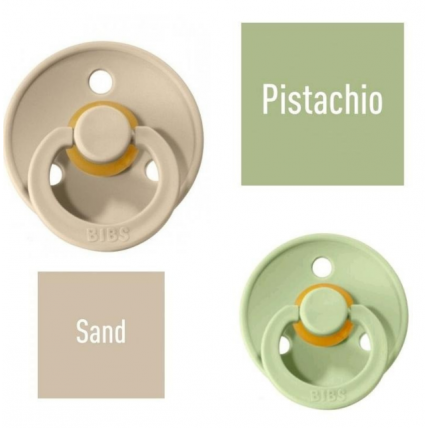 Bibs Pistachio/Sand Čiulptukas (nipelis) iš 100% natūralaus kaučiuko - vyšnios forma 6–18 mėn. (2 vnt.)