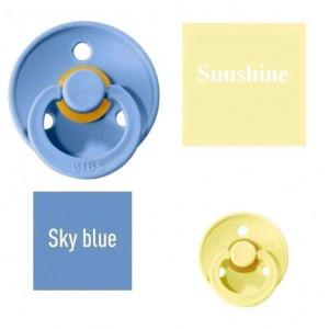 Bibs Sky blue/Sunshine Čiulptukas (nipelis) iš 100% natūralaus kaučiuko - vyšnios forma 0–6 mėn. (2 vnt.)