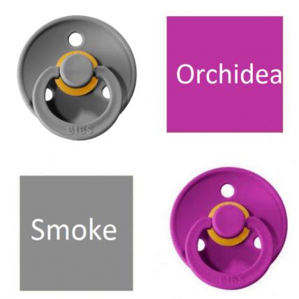 Bibs Smoke/Orchidea Čiulptukas (nipelis) iš 100% natūralaus kaučiuko - vyšnios forma 6–18 mėn. (2 vnt.)