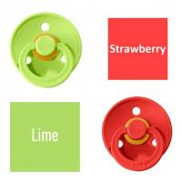 Bibs Lime/Strawberry Čiulptukas (nipelis) iš 100% natūralaus kaučiuko - vyšnios forma 6–18 mėn. (2 vnt.)