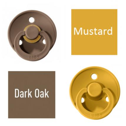 Bibs Dark Oak/Mustard Čiulptukas (nipelis) iš 100% natūralaus kaučiuko - vyšnios forma 6–18 mėn. (2 vnt.)