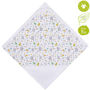 Bio Baby Vaikiška organinės medvilnės antklodė su gobtuvu 80x80 cm.