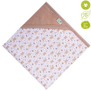 Bio Baby Vaikiška veliūrinė organinės medvilnės antklodė su gobtuvu 80x80 cm.