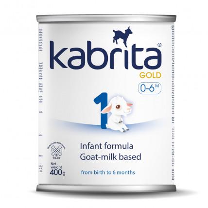 Kabrita Gold 1 400gr. dirbtiniai sausas pieno mišinys iš ožkos pieno pagrindo , skirtas patogiam virškinimui 0–6 mėnesių vaikams.