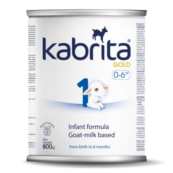 Kabrita Gold 1 dirbtiniai sausas pieno mišinys iš ožkos pieno pagrindo , skirtas patogiam virškinimui 0–6 mėnesių vaikams.