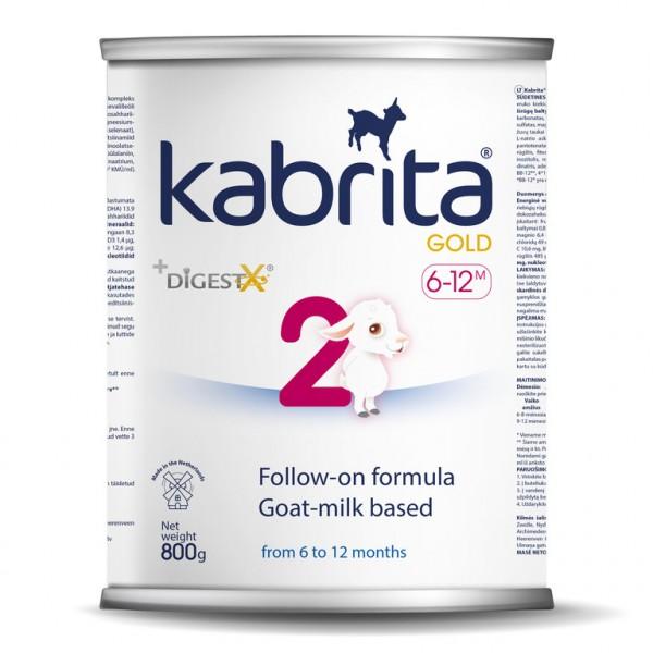 Kabrita Gold 2 tolimesnis dirbtinis sausas mišinys iš ožkos pieno pagrindu , skirtas patogiam virškinimui nuo 6–12 mėnesių vaikams