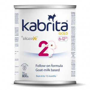 Kabrita Gold 2 800g tolimesnis dirbtinis sausas mišinys iš ožkos pieno pagrindu, skirtas patogiam virškinimui nuo 6–12 mėnesių vaikams