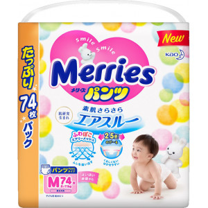 Sauskelnės-kelnaitės Merries PM 6-11kg 74vnt